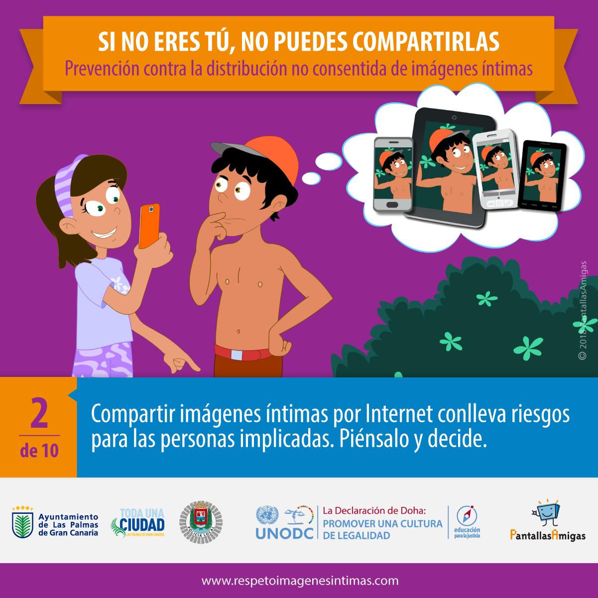 Compartir imágenes íntimas por Internet conlleva riesgos para las personas implicadas. Piénsalo y decide.